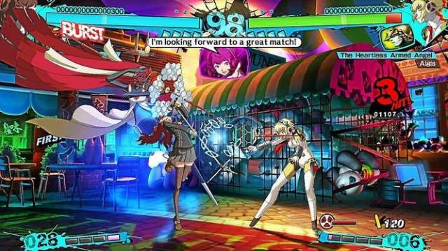 A pop star fighting an android in a food court is one of the many weird matchup possibilities in Persona 4 Arena Ultimax.