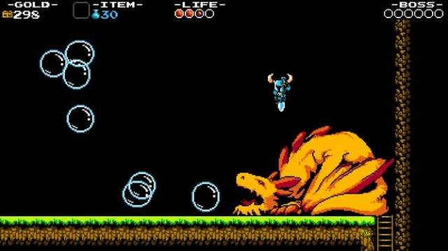 Shovel Knight's pogo stick manuever is crucial for getting past the game's massive enemies.