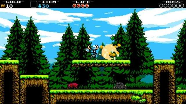Shovel Knight can dig up piles of dirt to reveal a shower of gems and gold.