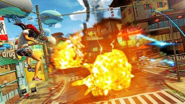 Sunset Overdrive offers a mix of Tony Hawk-esque mobility with over-the-top weaponry in a cheerfully-post-apocalyptic world.